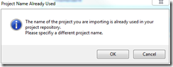Project Import Dialog III